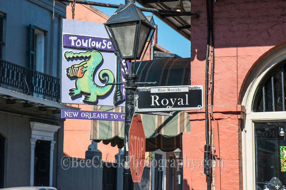 Street corner at Toulouse and Royal in New Orleans.