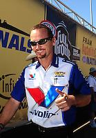 Jul. 18, 2010; Sonoma, CA, USA; NHRA funny car driver Jack Beckman during the Fram Autolite Nationals at Infineon Raceway. Mandatory Credit: Mark J. Rebilas-