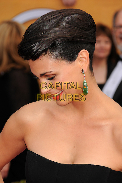 Morena Baccarin.Arrivals at the 19th Annual Screen Actors Guild Awards at the Shrine Auditorium in Los Angeles, California, USA..27th January 2013.SAG SAGs headshot portrait black green sheer strapless dangling earrings profile hair up.CAP/ADM/BP.©Byron Purvis/AdMedia/Capital Pictures