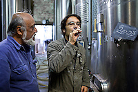 Oenologist tests the 2008 vintage watched by proprietor at Chateau Fontcaille Bellevue, Bordeaux wine region of France