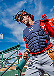 1 March 2019: Washington Nationals catcher Yan Gomes returns to the dugout after warming up his pitcher, prior to a Spring Training game against the Miami Marlins at Roger Dean Stadium in Jupiter, Florida. The Nationals defeated the Marlins 5-4 in Grapefruit League play. Mandatory Credit: Ed Wolfstein Photo *** RAW (NEF) Image File Available ***