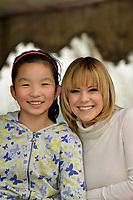 "Swiss singer and TV presenter Francine Jordi visiting ""SOS Kinderdorf"" in Tianjin, China. With Wang Yayu, 10 year old. 22-Mar-2016"