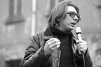 Milano, 2 apr 1977, Alexander Langer all'apertura della campagna per i referendum.<br /> Milan, April 2 1977, Alexander Langer to the opening of the campaign for the referendum.