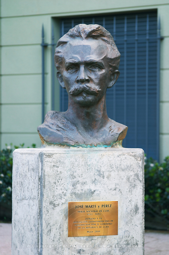 Statue bust in front of a military building close to Carlos Morales Street depicting Jose Marti y Perez Cuban national hero 1853 to 1895 Montevideo, Uruguay, South America