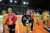 1. Bundesliga Handball Frauen - Punktspiel HC Leipzig (HCL) : DJK / MJC Trier - Arena Leipzig - im Bild: HCL Jubel - Maike Daniels (m.) und Katja Schülke (l.). Foto: Norman Rembarz ..
