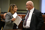 Nevada Assembly Minority Leader Marilyn Kirkpatrick, D-North Las Vegas, and Assemblyman Randy Kirner, R-Reno, talk on the Assembly floor at the Legislative Building in Carson City, Nev., on Friday, April 3, 2015. <br /> Photo by Cathleen Allison