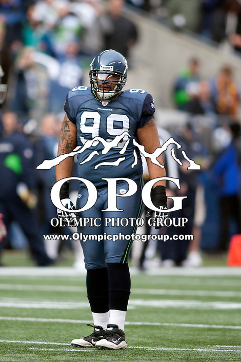 Dec 24, 2011:  Seattle's #99 Alan Branch against San Francisco at Century Link Stadium in Seattle WA.  San Francisco defeated Seattle 19-17.