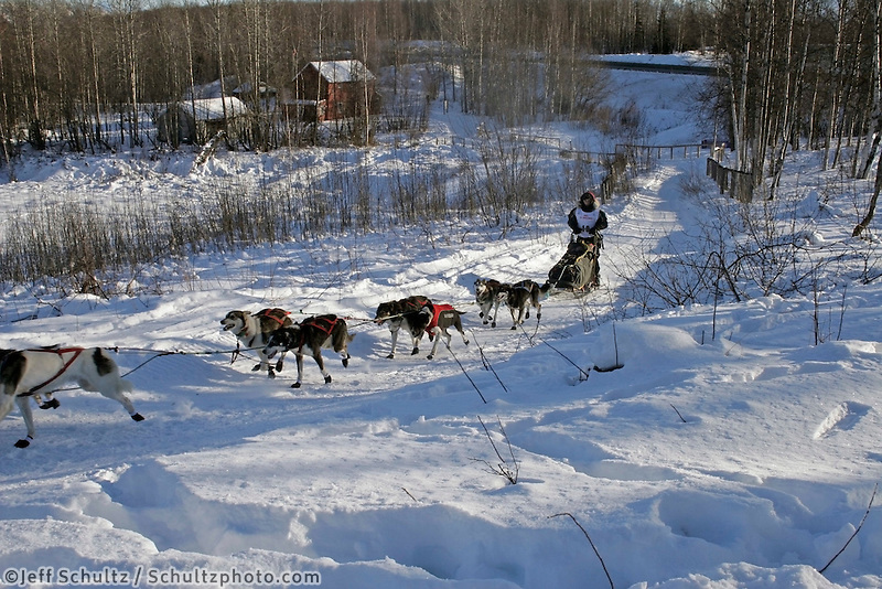 Saturday, February 24th, Knik, Alaska.  Jr. Iditarod musher Daniel Osmar on the trail shortly after leaving the Knik start