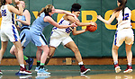 WATERBURY CT. 16 February 2018-021619SV09-#0 Madison Smith of Oxford tries to grab the rebound as #42 Jade Udoh of St. controls the ball during the NVL girl&rsquo;s basketball tournament in Waterbury Saturday.<br /> Steven Valenti Republican-American
