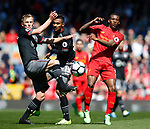 James Ward-Prowse of Southampton in action with Georgina Wijnaldum of Liverpool during the English Premier League match at Anfield Stadium, Liverpool. Picture date: May 7th 2017. Pic credit should read: Simon Bellis/Sportimage
