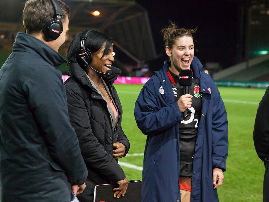 Sarah Hunter and Maggie Alphonsi talking on Sky TV post match, England Women v Canada in an Autumn International match at The Stoop, Twickenham, London, England, on 21st November 2017 Final score 49-12