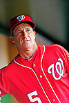 28 August 2010: Washington Nationals Manager Jim Riggleman stands in the dugout prior to a game against the St. Louis Cardinals at Nationals Park in Washington, DC. The Nationals defeated the Cards 14-5 to take the third game of their 4-game series. Mandatory Credit: Ed Wolfstein Photo