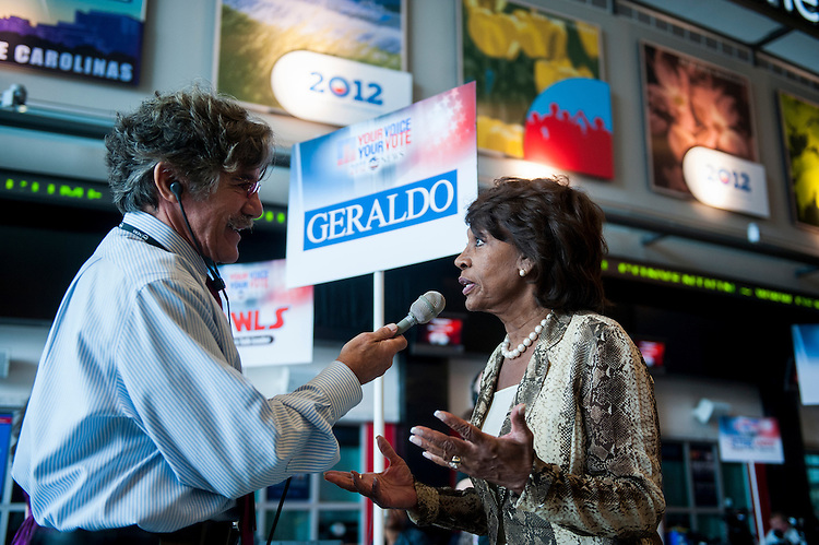 UNITED STATES - SEPTEMBER 4: Geraldo Rivera interviews Rep. Maxine Waters, D-Calif., on radio row at Time Warner Cable Arena at the Democratic National Convention in Charlotte, N.C., on Tuesday, Sept. 4, 2012. (Photo By Bill Clark/CQ Roll Call)