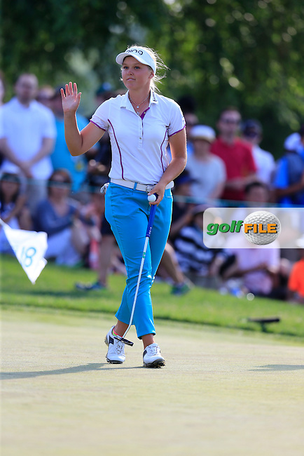 Brooke Henderson (CAN) sinks her putt on the 18th green during Sunday's Final Round of the 2015 KPMG Women's PGA Championship held at Westchester Country Club, Harrison, New York, USA. 6/14/2015.<br /> Picture &copy; Golffile/Eoin Clarke