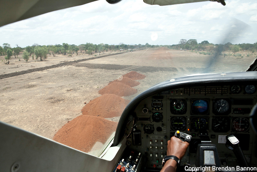 A pilot lands the MSF plane in South Sudan.