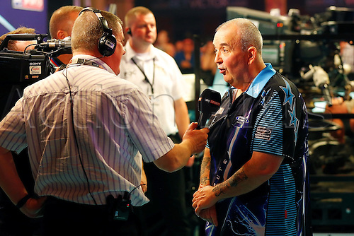 23.07.2016. Empress Ballroom, Blackpool, England. BetVictor World Matchplay Darts. Phil Taylor is interviewed by the Sky Sports TV