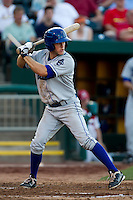 Erik Wetzel (1) of the Tulsa Drillers at bat during a game against the Springfield Cardinals at Hammons Field on July 19, 2011 in Springfield, Missouri. Tulsa defeated Springfield 17-11. (David Welker / Four Seam Images)