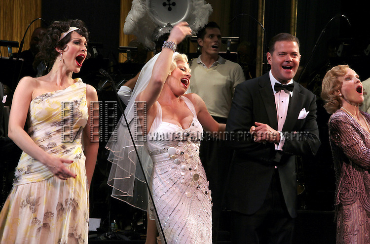 Rachel York, Megan Hilty, Clarke Thorell, Deborah Rush.during the final performance Curtain Call for the New York City Center ENCORES! Production of 'Gentlemen Prefers Blondes' at City Center in New York City on 5/13/2012.