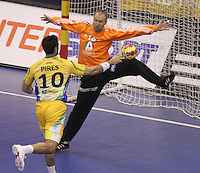 15.01.2013 Granollers, Spain. IHF men's world championship, prelimanary round. Picture show Gil Vicente Paes Pires  and Thierry Omeyer   in action during game between France v Brazil at Palau d'esports de Granollers