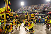 Imperatriz Leopolinense Samba School, Carnival, Rio de Janeiro, Brazil, 26th February 2017. Samba dancers dressed as Indians carrying felled tree trunks.