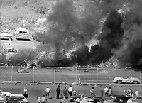 Fire & crash at Candlestick auto race. Russ Reed/Photo