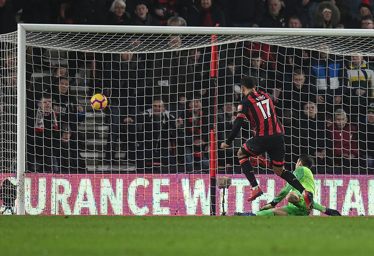 Bournemouth's Joshua King scores his side's second goal <br /> <br /> Photographer David Horton/CameraSport<br /> <br /> The Premier League - Bournemouth v West Ham United - Saturday 19 January 2019 - Vitality Stadium - Bournemouth<br /> <br /> World Copyright &copy; 2019 CameraSport. All rights reserved. 43 Linden Ave. Countesthorpe. Leicester. England. LE8 5PG - Tel: +44 (0) 116 277 4147 - admin@camerasport.com - www.camerasport.com
