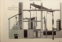 Technology: James Watt's first steam engine. Pat. 1769 but not for sale until 1775.  Science Museum--London.  Reference only.