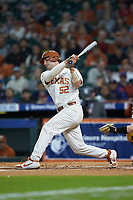 Zach Zubia (52) of the Texas Longhorns follows through on his swing against the Missouri Tigers in game eight of the 2020 Shriners Hospitals for Children College Classic at Minute Maid Park on March 1, 2020 in Houston, Texas. The Tigers defeated the Longhorns 9-8. (Brian Westerholt/Four Seam Images)