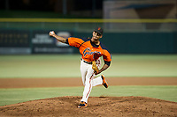 AZL Giants relief pitcher Camilo Doval (17) delivers a pitch to the plate against the AZL Athletics on August 5, 2017 at Scottsdale Stadium in Scottsdale, Arizona. AZL Athletics defeated the AZL Giants 2-1. (Zachary Lucy/Four Seam Images)