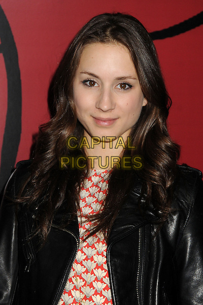 Troian Bellisario.WIGS Channel One Year Anniversary held at Akasha, Culver City, California, USA, 2nd May 2013..portrait headshot red print black leather jacket.CAP/ADM/BP.©Byron Purvis/AdMedia/Capital Pictures