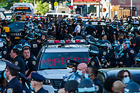 NEW YORK, NEW YORK - MAY 30: View of the police during the protest in response to the police officer who killed George Floyd in Brooklyn on May 30, 2020 in New York. The protests spread across the country in at least 30 cities in the United States. United States For the death of unarmed black man George Floyd at the hands of a police officer, this is the latest death in a series of police deaths of black Americans (Photo by Pablo Monsalve / VIEWpress via Getty Images)