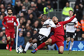 17th March 2019, Craven Cottage, London, England; EPL Premier League football, Fulham versus Liverpool; Fabinho of Liverpool fouls Jean Michael Seri of Fulham from behind