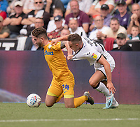 Swansea City's Connor Roberts (right) tackle brings down Preston North End's Sean Maguire (left) <br /> <br /> Photographer David Horton/CameraSport<br /> <br /> The EFL Sky Bet Championship - Swansea City v Preston North End - Saturday 17th August 2019 - Liberty Stadium - Swansea<br /> <br /> World Copyright © 2019 CameraSport. All rights reserved. 43 Linden Ave. Countesthorpe. Leicester. England. LE8 5PG - Tel: +44 (0) 116 277 4147 - admin@camerasport.com - www.camerasport.com