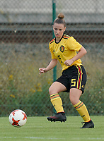 20200820 - TUBIZE , Belgium : Belgium's Lea Detail (5) gives a pass during a friendly match between Belgian national women's youth soccer team called the Red Flames U17 and Union Saint-Ghislain Tetre , on the 20th of August 2020 in Tubize.  PHOTO: Sportpix.be | SEVIL OKTEM