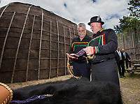 Quebec premier Philippe Couillard, left, and Konrad Sioui, Grand Chef of the Huron-Wendat nation, visit the Longhouse at the Hotel-Musee in Wendake, a Huron reserve enclave within Quebec City, Thursday July 17, 2014.<br /> <br /> PHOTO :  Francis Vachon - Agence Quebec Presse