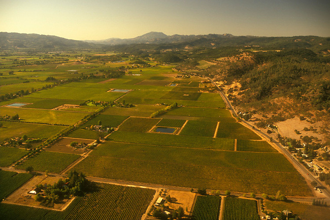 Aerial of Napa Valley, with 5,000-foot Mt. St. Helena in distance.  Silverado Trail on the right of the photo.