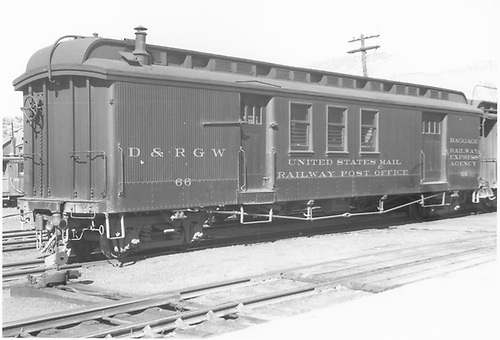#66 RPO &amp; baggage combine car at Durango.  3/4 view.<br /> D&amp;RGW  Durango, CO  Taken by Ingersol, Darrell - 8/1948