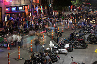 The annual Republic of Texas Biker Rally has become quite the early summer Austin tradition. The event has drawn as many as 35,000 paying customers to the event grounds. City officials have estimated that the Friday night street party downtown draws as many as 200,000 spectators thus making it one of the largest motorcycle rallies of any kind in the country.