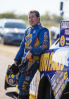 Oct 16, 2016; Ennis, TX, USA; NHRA funny car driver Ron Capps reacts after losing in the final round of the Fall Nationals at Texas Motorplex. Mandatory Credit: Mark J. Rebilas-USA TODAY Sports