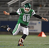 Joseph Cain #88 of Seaford makes an onside kick during the first quarter of the Nassau County Conference IV varsity football semifinals against Locust Valley at Hofstra University on Thursday, Nov. 9, 2017.