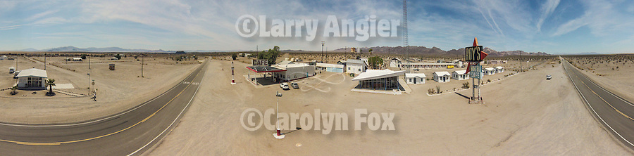 Aerial panorama of Amboy, California, along Route 66 taken with a DJI Phantom drone quadcopter.