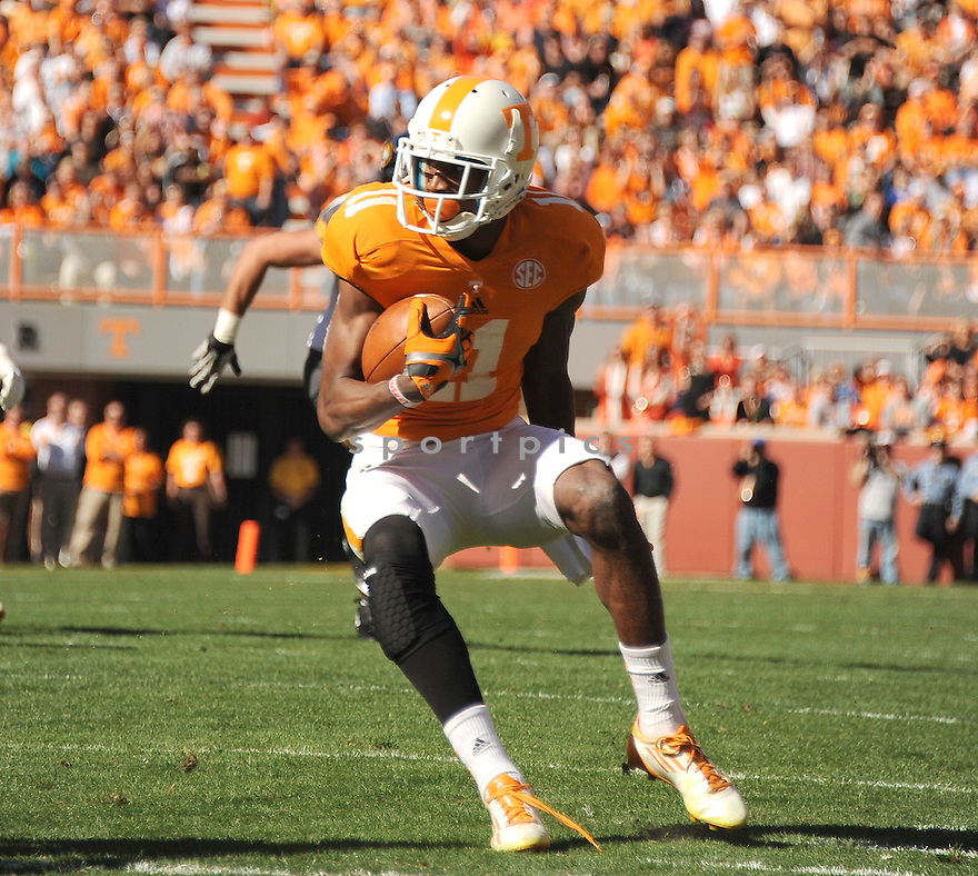 Tennessee Volunteers Justin Hunter (11) during a game against Missouri on November 10, 2012 at Neyland Stadium in Knoxville, TN. Missouri beat Tennessee 51-48.