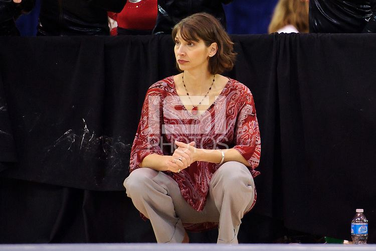 LOS ANGELES, CA - March 19, 2011:  Stanford head coach Kristen Smyth during the Pac-10 Championship at UCLA's Pauley Pavilon.   Stanford placed fourth in the competition.