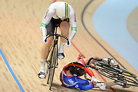 VICTORIA PENDLETON (GBR) strays out of her line and crashes in the first race of the Womens Sprint Semifinals against ANNA MEARES (AUS) on day 3 of the 2012 UCI Track Cycling World Championships at Hisense Arena in Melbourne, Australia. Pendleton goes on to win the next two races against Meares and goes on to win the gold medal in the event. Photo Sydney Low. Copyright 2012 Sydney Low. All rights reserved. No reproduction permitted. Access via FlickrAPI not permitted...Please contact ZUMApress.com for editorial licensing:.Phone +1.949.481.3747  -  fax +1.949.481.3941  -  zuma-info@ZUMAPress.com .408 N. El Camino Real, San Clemente, California, 92672 USA