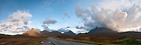 Panorama of the Cullin Hills ridge, isle of Skye, Scotland. The Cullin Hills, a true paradise for climbers and hill walkers, is probably one of the most recognizable features of Skye. Due to their altitude, the Cullins often trap clouds coming in from the Atlantic.