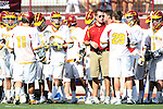 USC Coach Dan Usaj and team during a time out against UCSB