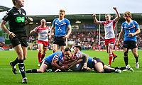 Picture by Alex Whitehead/SWpix.com - 11/05/2018 - Rugby League - Ladbrokes Challenge Cup - Leigh Centurions v Salford Red Devils - Leigh Sports Village, Leigh, England - Leigh's Harrison Hansen scores a try.