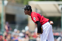 Billings Mustangs starting pitcher Jhon De Jesus (28) looks to his catcher for the sign against the Missoula Osprey at Dehler Park on August 20, 2017 in Billings, Montana.  The Osprey defeated the Mustangs 6-4.  (Brian Westerholt/Four Seam Images)