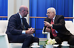 Palestinian President Mahmoud Abbas meets with Belgian Prime Minister Charles Michel in New York City, U.S. on September 19, 2017. Photo by Osama Falah