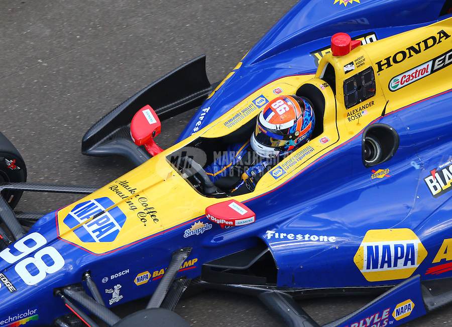 May 29, 2016; Indianapolis, IN, USA; IndyCar Series driver Alexander Rossi during the 100th running of the Indianapolis 500 at Indianapolis Motor Speedway. Mandatory Credit: Mark J. Rebilas-USA TODAY Sports